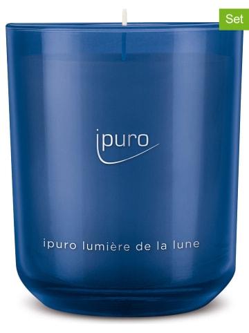 """Ipuro 2-delige set: geurkaarsen """"Classic Lumière de la lune"""" blauw - 2x 270 g"""