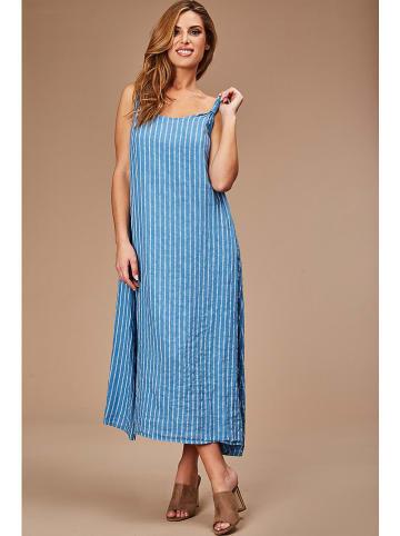 100% LIN Linnen jurk lichtblauw/wit