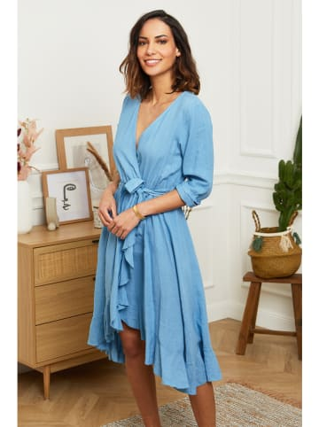 Le Monde du Lin Leinen-Kleid in Blau