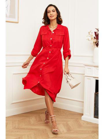 100% LIN Linnen jurk rood
