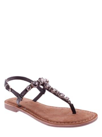 Lazamani Skórzane sandały w kolorze czarnym