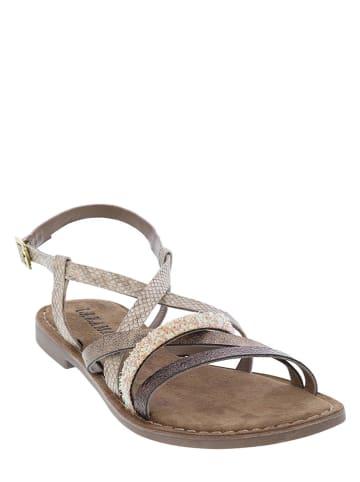 Lazamani Leren sandalen grijs