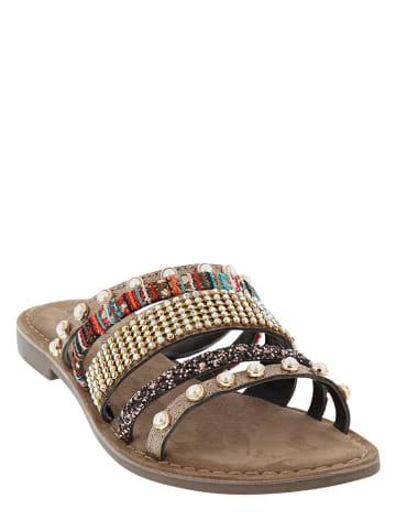 Lazamani Leren slippers beige/bruin