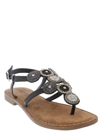 Lazamani Leren sandalen zwart