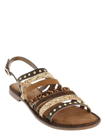Lazamani Leren sandalen bruin/beige