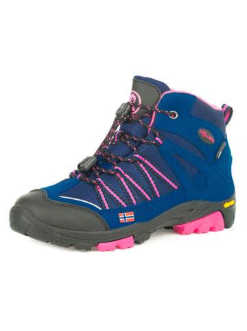 """Trollkids Buty turystyczne """"Lofoten Hiker Mid"""" w kolorze jasnoróżowo-niebieskim"""