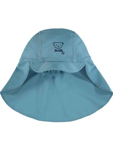 Steiff Czapka w kolorze błękitnym z osłoną karku