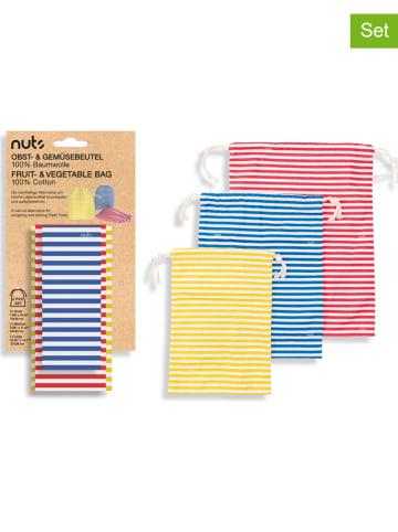 NUTS Woreczki (3 szt.) w kolorze niebieskim, czerwonym i żółtym na warzywa
