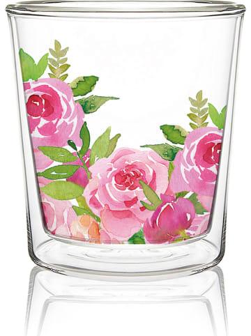 """Ppd Dubbelwandig glas """"Merci!"""" roze/groen - 300 ml"""