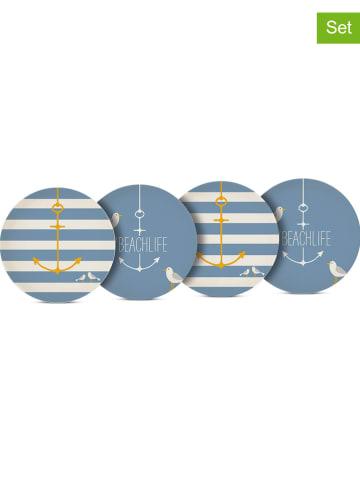 """Ppd 4-delige set: borden """"Beach"""" crème/blauw - Ø 25 cm"""