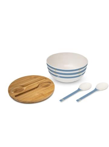 "Ppd Saladekom ""Beach"" crème/blauw - (H)12 x Ø 25 cm"