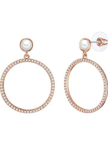 Pearls of London Pozłacane kolczyki-wkrętki z perłami i cyrkoniami