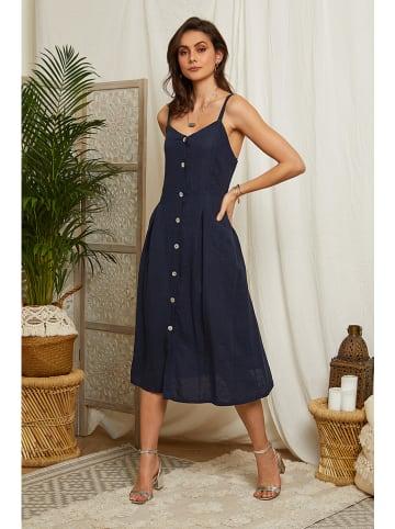 Lin Passion Linnen jurk donkerblauw