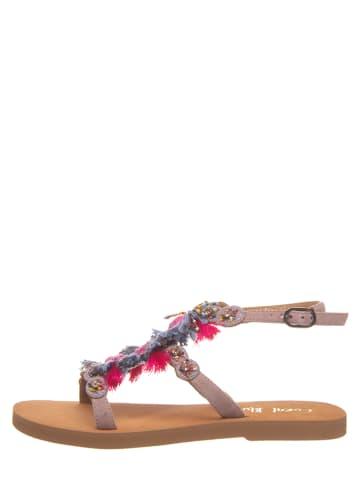 Coral Blue Skórzane sandały w kolorze fiołkowym ze wzorem