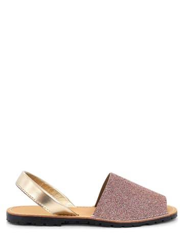 Mia Loé Leren sandalen goudkleurig/meerkleurig