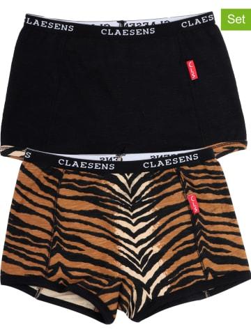 Claesens Bokserki (2 pary) w kolorze czarnym i jasnobrązowym