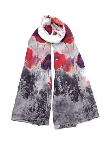 Made in Silk Jedwabny szal w kolorze szaro-czerwonym ze wzorem - (D)180 x (S)90 cm