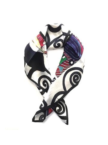 Made in Silk Jedwabna chusta w kolorze białym ze wzorem - (D)52 x (S)52 cm