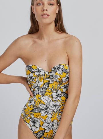 Gisela Strój kąpielowy w kolorze żółtym ze wzorem