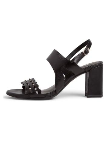 Tamaris Skórzane sandały w kolorze czarnym