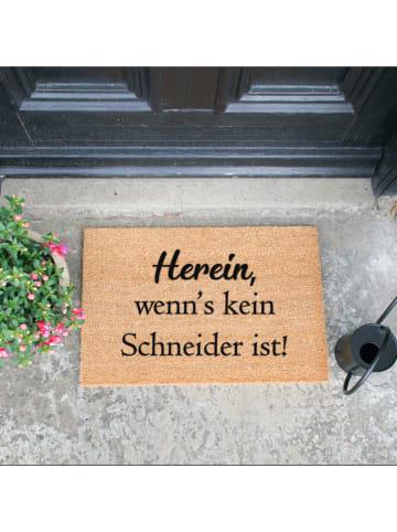 """Artsy Kokos-Fußmatte """"Herein"""" in Hellbraun - (L)60 x (B)40 cm"""
