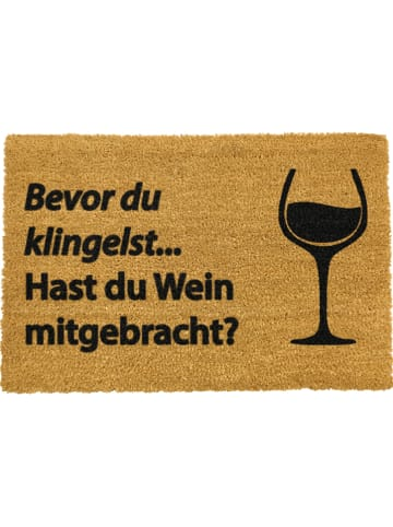 """Artsy Kokos-Fußmatte """"Wein mitgebracht"""" in Hellbraun - (L)60 x (B)40 cm"""