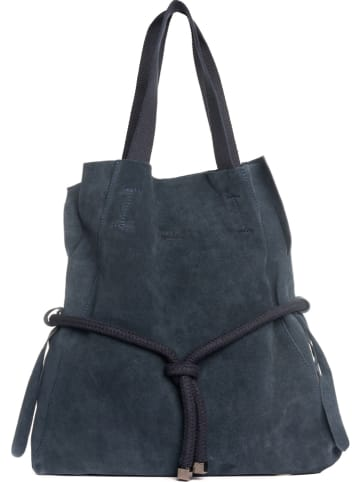 "Lucca Baldi Leren shopper ""Cecina"" donkerblauw - (B)40 x (H)44 x (D)7 cm"