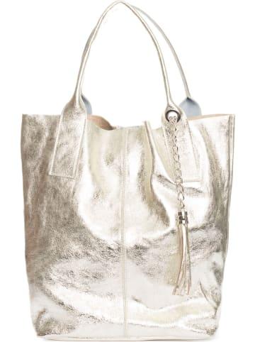 """Pia Sassi Leder-Henkeltasche """"Monte Cimone"""" in Silber - (B)28 x (H)35 x (T)17 cm"""