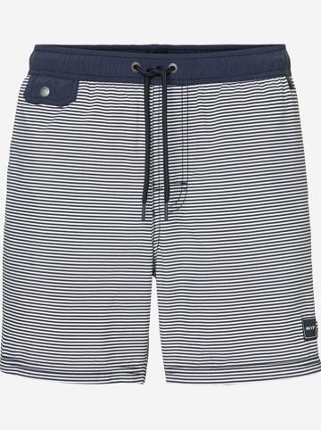 Marc O´Polo Beachwear Szorty kąpielowe w kolorze granatowo-białym