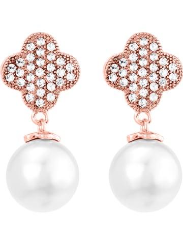 METROPOLITAN Pozłacane kolczyki-wkrętki z perłami i kryształami Swarovski