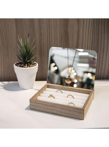 THE HOME DECO FACTORY Skrzynka w kolorze jasnobrązowym na biżuterię - 15 x 13 x 14 cm