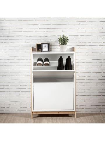 """THE HOME DECO FACTORY Regał """"Copenhague"""" w kolorze białym na buty - 63 x 98 x 24 cm"""