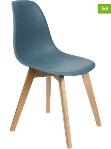 """THE HOME DECO FACTORY 2-delige set: eetkamerstoelen """"Scandinave"""" blauw - (B)46 x (H)86,5 x (D)52 cm"""