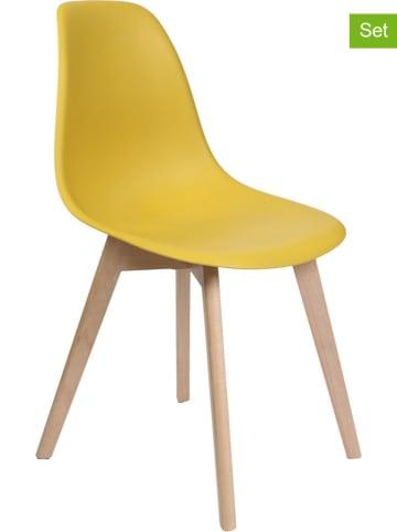"""THE HOME DECO FACTORY Krzesła (2 szt.) """"Scandinave"""" w kolorze musztardowym - 46 x 86,5 x 52 cm"""