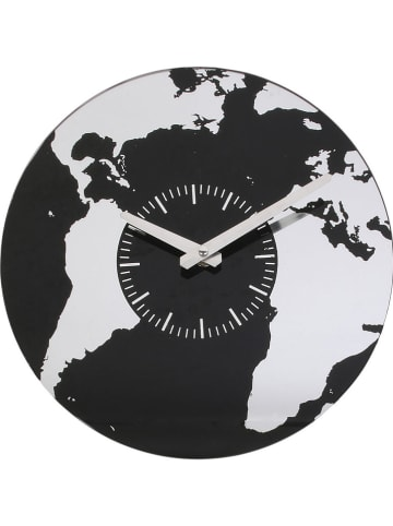 "THE HOME DECO FACTORY Wanduhr ""Mappemonde"" in Schwarz - Ø 30 cm"