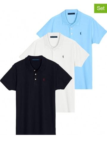 Polo Club 3er-Set: Poloshirts in Dunkelblau/ Weiß/ Hellblau