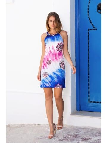 """Bleu d'Azur Kleid """"Ibiza"""" in Weiß/ Blau/ Pink"""