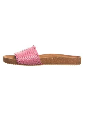 Cinque Leder-Pantoletten in Pink