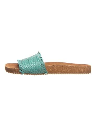 Cinque Leren slippers turquoise
