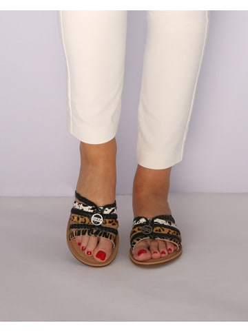 "Mexx Leren slippers ""Early"" lichtbruin/zwart"