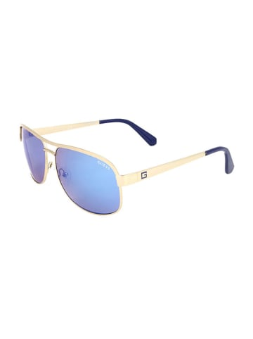 """Guess Okulary przeciwsłoneczne """"GU6874"""" w kolorze złoto-niebieskim"""