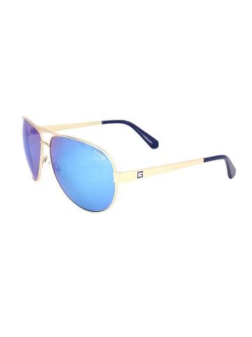 """Guess Okulary przeciwsłoneczne """"GU6875"""" w kolorze złoto-niebieskim"""
