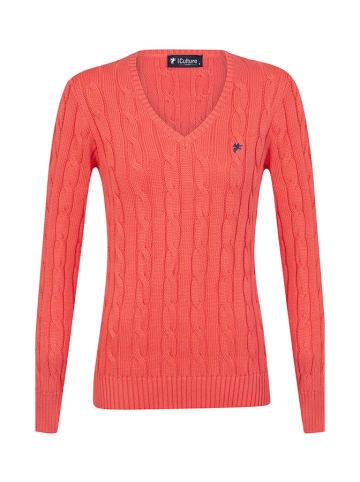 CULTURE Sweter w kolorze koralowym