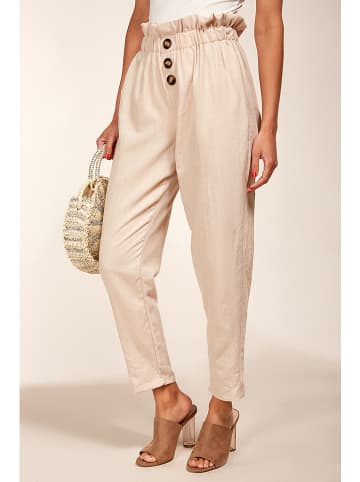 Fille de Coton Lniane spodnie w kolorze beżowym