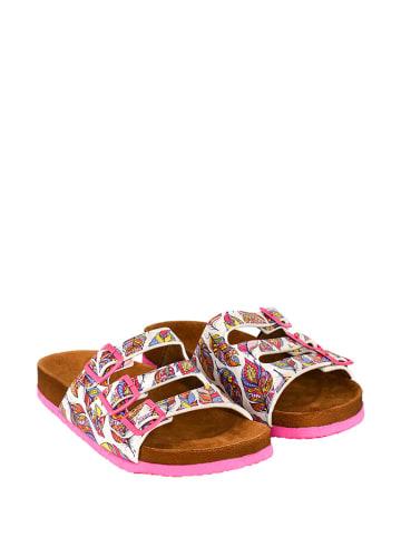 Cella Slippers wit/roze/meerkleurig