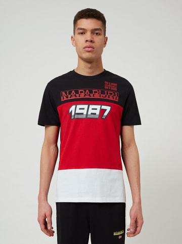 """Napapijri Koszulka """"Soto"""" w kolorze czerwono-czarnym"""