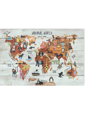 "Madre Selva Kids Wanddekor ""Animals Worldmap"" in Bunt - (B)60 x (H)40 cm"