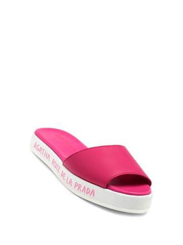 Agatha Ruiz de la Prada Skórzane klapki w kolorze różowym