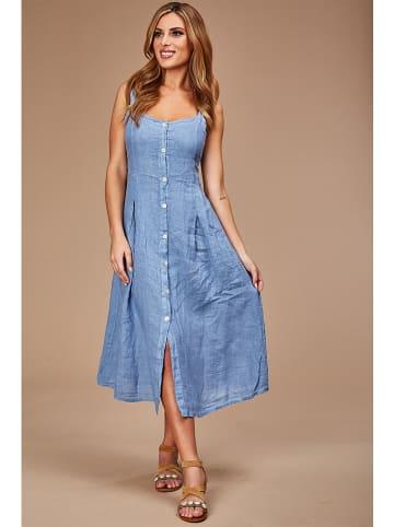 Le Monde du Lin Lniana sukienka w kolorze niebieskim
