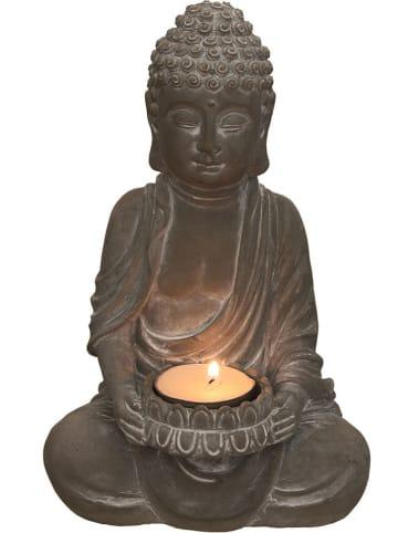 """Ethnical Life Świecznik """"Bouddha"""" w kolorze szarym - wys. 21 cm"""